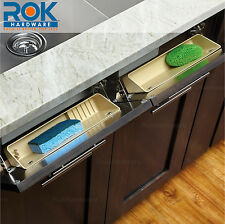 Rev-A-Shelf 6572-14-52 6572 Almond 14 Inch Wide Sink Front Tip Out Two Tray Set