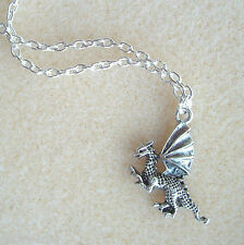 "Winged Dragon Pendant 20"" S/P Chain Necklace in Gift Bag - Myth Magic Fantasy"