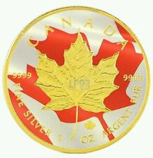 COA 2016 1 Oz Ounce Silver Canadian Maple Coin 999 Gold Gilded Colorized Fire