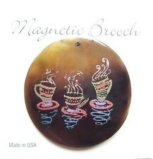 Magnetic Brooch Clip Clasp Brown Shell Coffee Mug  Design  Accessory Scarves