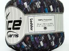 Sonoma Ladder Yarn - Ice Purple Blue Brown Silver Ladder Ribbon Yarn 42719 50gr