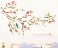 SHABBY CHIC BIRDS QUOTE PRETTY WALL STICKER VINTAGE BEDROOM LOUNGE FLORAL ROSE