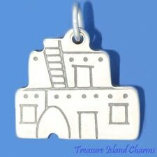 PUEBLO NATIVE AMERICAN ADOBE HOUSE .925 Sterling Silver Charm Pendant