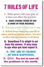 7 Rules of Life - NEW Classroom Motivational  POSTER