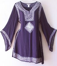 NEW~Navy Blue & White Angel Sleeve Peasant Bohemian Boho Dress~4/6/8/S/Small