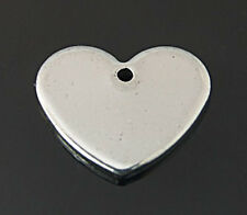 Metal Stamping Blanks Silver 13mm Blank Charms Stainless Steel 10 pieces Heart
