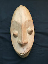 Solid Wood Mask Wall Decor - Natural Color With Pointy Eyes and Nose-M02