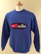 Rare Vintage 90's Nike Swoosh Bootleg Blue Crewneck Sweater Sewn Logo Sz XL