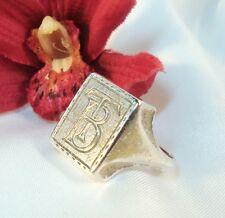 Alter massiver Siegelring Silber mit Monogramm TB / BT Ring / az 118