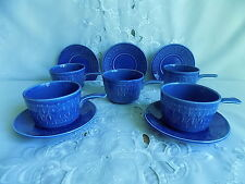 Staffordshire Blue Embossed Diamonds One Handled Soup Cups and Saucers x 5