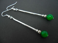 A PAIR OF SILVER PLATED GREEN JADE  BEAD LONG DANGLY  EARRINGS. NEW.