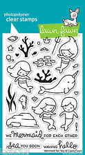 LAWN FAWN CLEAR STAMP SET - MERMAID FOR YOU LF1167 - SEAHORSE FISH SEA MERMAN
