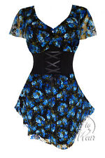 Gothic Victorian Corset Sexy VNeck Blue Dream SWEETHEART Plus Size Top 3X