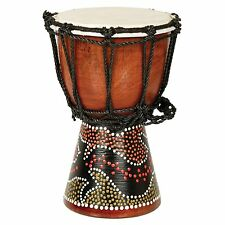 "12"" African Musical Instrument Tribal Djembe Drum with Gecko Painted Design"