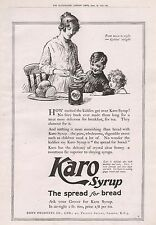 1919-VINTAGE PRINT- ADVERT-KARO SYRUP, THE SPREAD FOR BREAD