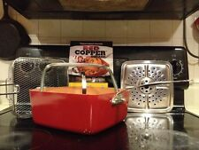 "Red Copper Square Pan 5 pc Cookware Set For Stovetop Or Oven Non-Stick 4"" Deep"