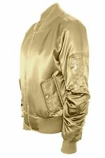 Womens Ladies Padded Satin MA1 Bomber Jacket Quilted Coat Winter Vintage Flight