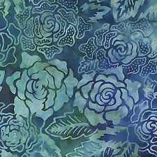 Garden Oasis Tropical Rose Blue Green 52-54 Batik Quilt Fabric by the 1/2 yd