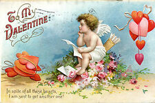 Vintage VALENTINE Postcard CUPID Reading Letters Hearts Roses  1910