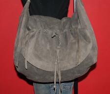 LUCKY BRAND Gray Suede Leather Snake Hobo Slouch Tote Purse Shoulder Satchel Bag