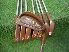 USED RH PING EYE 2 BERYLLIUM COPPER 3-PW IRON SET ORANGE DOT N.S. PRO STIFF -3/4