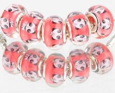 10PCS SILVER MURANO LAMPWORK charm beads fit European Bracelet wholesale WW125