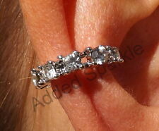 Really Stunning Cute Crystal Silver Clip on Ear Cuff Statement Earrings  ALEC55