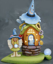 Ceramic Bisque Ready to Paint Rose Witch Fairy House with Fairy Orb Lights