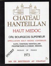 HAUT MEDOC CRU BOURGEOIS ETIQUETTE CHATEAU HANTEILLAN 1973 73CL RARE §11/09§