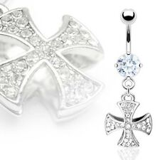 Surgical Steel CZ Celtic / Iron Cross Dangle Belly Button Navel Ring