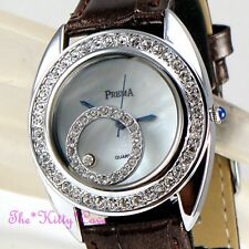 Silver rhodium PLT Donna Bling MOP Leather Watch W / MOBILE cristalli swarovski