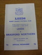 19/03/1978 Rugby League Programme: Leeds v Bradford Northern [Challenge Cup Repl