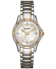 Bulova Ladies 98L203 Crystal Accent Two-Tone Mother of Pearl Steel 30mm Watch