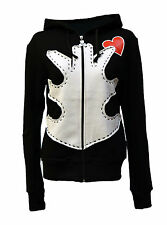 BNWT Death Kitty Ribs/Ribcage/Bones/Red Heart Hoodie/Hood Top Goth/Punk/Emo S/M