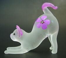Verre chat chaton violet & rose en verre dépoli ornement verre soufflé animal figure