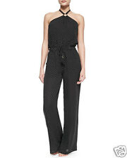 NWT Tory Burch Milos Silk Jumpsuit Romper Black Polka Dot Georgette Small NEW