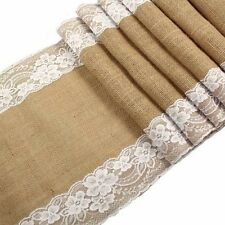 6ft Hessian Table Runners Burlap & Lace Vintage Rustic Home Wedding Table Decor