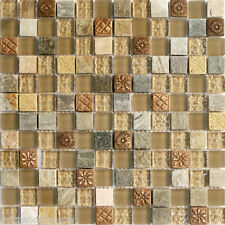 10SF Natural Brown Stone Glass Mosaic Tile kitchen backsplash wall bathroom sink