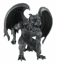 Evil Winged Devil Gargoyle Statue Sculpture Horned Striking Figurine