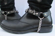 Biker Men Western Cowboy Boot Silver Chain Pair Leather Straps Big Motorcycle