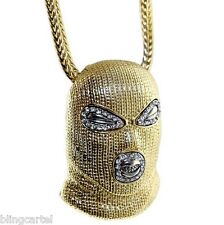 """Goon Masked Man Iced-Out Luchador Pendant Gold Finish Necklace 36"""" Franco Chain"""