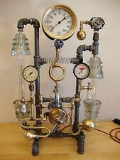 Steampunk Lamp Industrial Machine Age Art, Antique Gage, Lots of Vintage Brass!