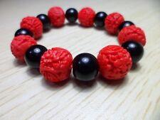 Red carved cinnabar men bracelet