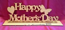 Happy Mothers Day Sign Plaque 30cm X 12.5cm Mdf Craft Cutout Wood Mum With Stand