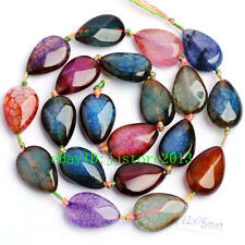 12x18mm Natural Faceted Cracked Multicolor Agate Drop Shape Beads Strand 15""