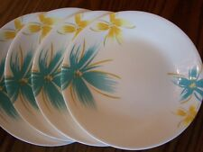 CORELLE VITRELLE HAWAIIAN SET OF 4 BREAD & BUTTER DISHES - YELLOW & AQUA - NEW