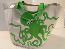 extra LARGE green octopus CANVAS beach pocket bucket tote bag EMBROIDERED NEW