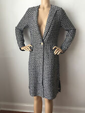 BRAND NEW ST JOHN KNIT 12 LONG JACKET COAT  KNIT TWEED TOPPER BLACK & WHITE
