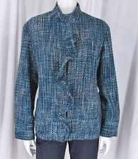 Chico's sz 3 (L) Shades of Blue/Aqua Tweed Hook & Eye Front Long Sleeve Jacket
