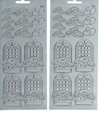 WEDDING WINDOWS, RINGS & HEARTS SILVER PEEL OFF STICKERS - 2 SHEETS